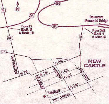 Map to Terry House B&B in New Castle, Delaware